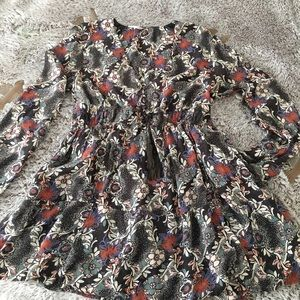 Free People Dress Dark Floral Print